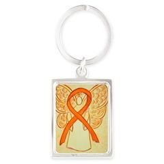 Orange Ribbon Angel Keychains