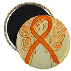 Orange Ribbon Angel Magnets