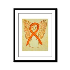 Orange Ribbon Angel Framed Panel Print