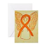 Orange Ribbon Angel Greeting Cards
