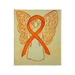 Orange Ribbon Angel Throw Blanket