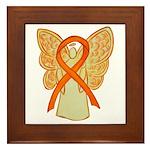 Orange Ribbon Angel Framed Tile