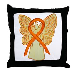 Orange Ribbon Angel Throw Pillow