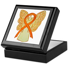 Orange Ribbon Angel Keepsake Box