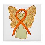 Orange Ribbon Angel Tile Coaster