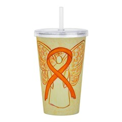 Orange Ribbon Angel Acrylic Double-wall Tumbler