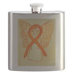Orange Ribbon Angel Flask