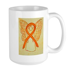 Orange Ribbon Angel Mugs