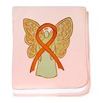Orange Ribbon Angel baby blanket