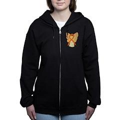 Orange Ribbon Angel Women's Zip Hoodie