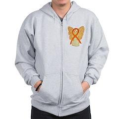 Orange Ribbon Angel Zip Hoodie