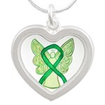 Green Ribbon Angel Necklaces