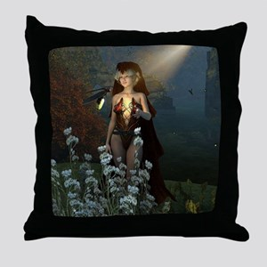 The witch speaks with their firefly Throw Pillow