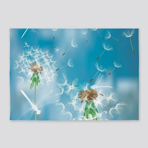 Dandelions and Dragonflies 5'x7'Area Rug