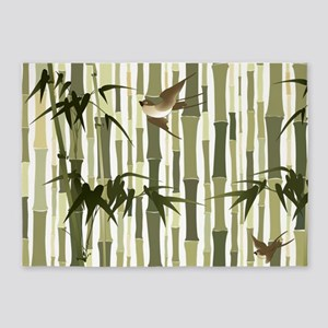 Bamboo and Birds 5'x7'Area Rug