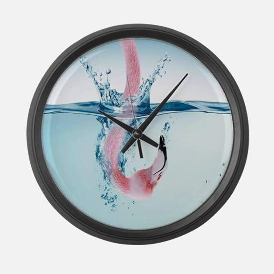 Funny Pink Flamingo Large Wall Clock