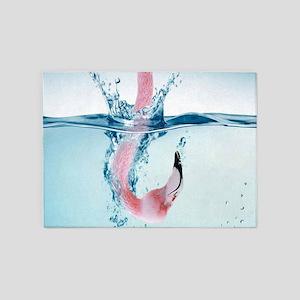 Funny Pink Flamingo 5'x7'Area Rug