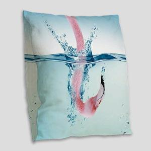 Funny Pink Flamingo Burlap Throw Pillow