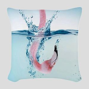 Funny Pink Flamingo Woven Throw Pillow
