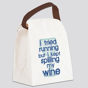 Lazy Wine Drinking Humor Canvas Lunch Bag