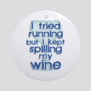 Lazy Wine Drinking Humor Ornament (Round)