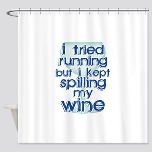 Lazy Wine Drinking Humor Shower Curtain