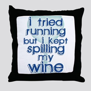 Lazy Wine Drinking Humor Throw Pillow