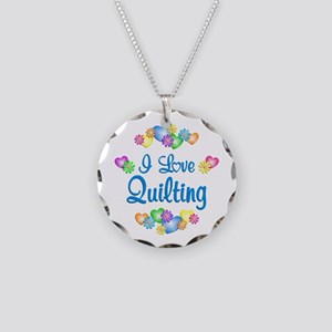 I Love Quilting Necklace Circle Charm