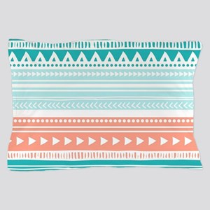 Coral Teal Tribal Vintage Stripes Pillow Case