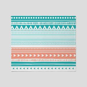 Coral Teal Tribal Vintage Stripes Throw Blanket