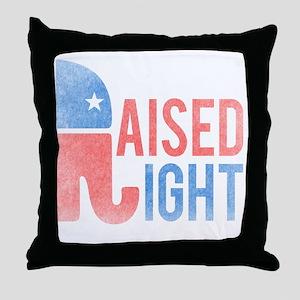 Raised Right Vintage Throw Pillow