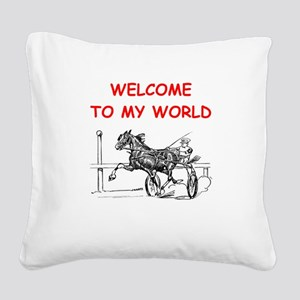 harness racing Square Canvas Pillow