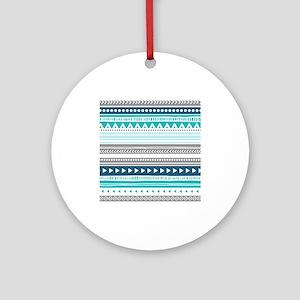 Blue Grey Tribal Vintage Stripes Ornament (Round)
