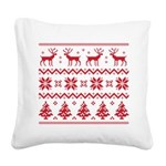 Merry Christmas pattern 4 Square Canvas Pillow