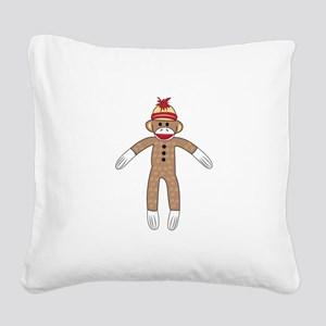 Sock Monkey Square Canvas Pillow