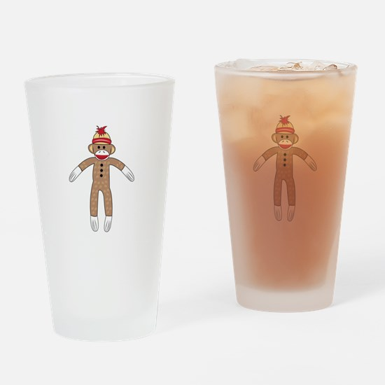 Sock Monkey Drinking Glass