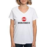 Stop World War 3  Women's V-Neck T-Shirt