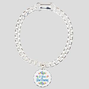 I Love Line Dancing Charm Bracelet, One Charm
