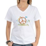 Colorful Peace Sign Women's V-Neck T-Shirt