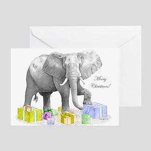Merry Christmas Elephant Greeting Cards