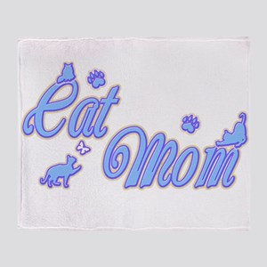 Cat Mom Blue Throw Blanket