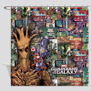 Groot Rocket Comic Shower Curtain