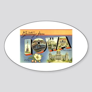 Greetings from Iowa Oval Sticker