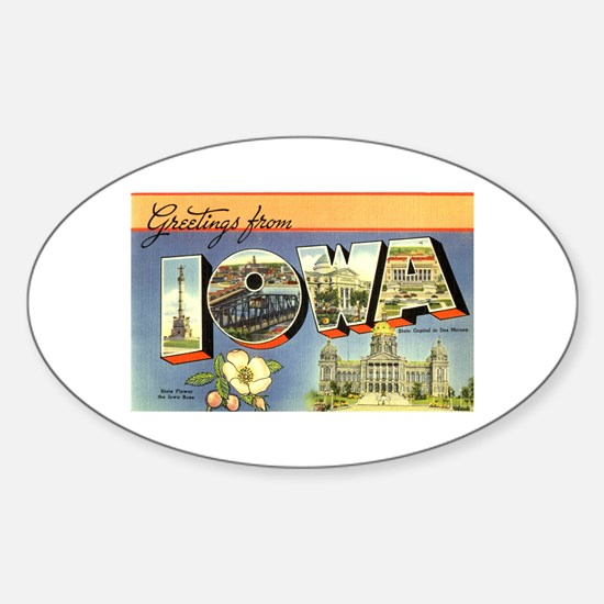 Greetings from Iowa Oval Stickers