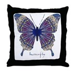 Insomnia Purple Butterfly Throw Pillow