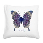 Insomnia Purple Butterfly Square Canvas Pillow