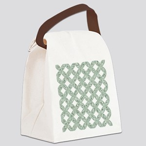 Quilted Diamond Leaf Sage Canvas Lunch Bag