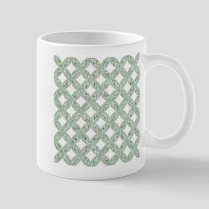 Quilted Diamond Leaf Sage Mugs