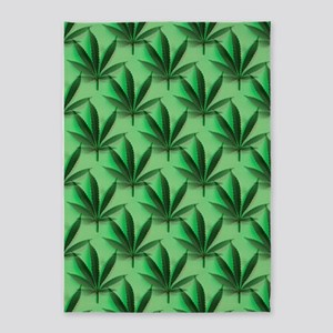 Cannabis Leaves 5'x7'Area Rug