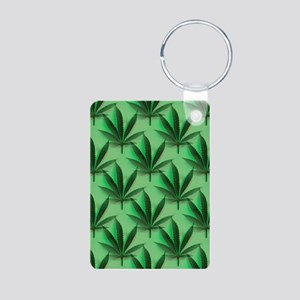 Cannabis Leaves Aluminum Photo Keychain
